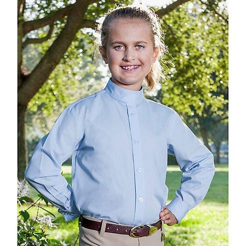 Devon-Aire Girl's Long Sleeve Concour Show Shirts, Light Blue, 14