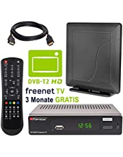 HB DIGITAL DVB-T/T2 set: Opticum AX500 freenetTV HEVC DVB-T/T2 receiver AX 500 + Opticum HD550 antenne (Full HD H.265 HDTV HDMI SCART USB LAN Ethernet SPDIF DVBT2 DVB-T2 Irdeto encryptie)