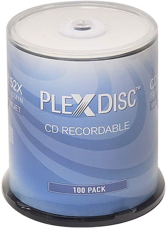 PlexDisc CD-R 700MB 52X White Inkjet Hub Printable Recordable Media Disc - 100pk Spindle