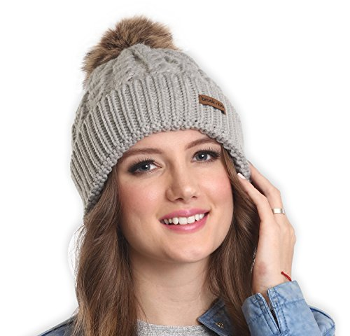 Brook + Bay Women's Faux Fur Pom Pom Beanie - Thick, Soft & Warm Cable Knit Beanie Hats for Winter - Serious Beanies for Serious Style (with 7+ - Bay Brook