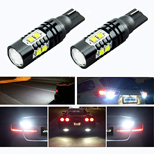 HOCOLO LED Extremely Bright Max 50W High Power T10 198 194 168 912 921 LED Bulb For Backup Reverse Lights, Xenon White (Set of 2) (T10/198/194/168, Light White)