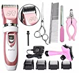 PetPal Low Noise Rechargeable Cordless Pet Dogs and Cats Electric Clippers Full Grooming Trimming Kit Set
