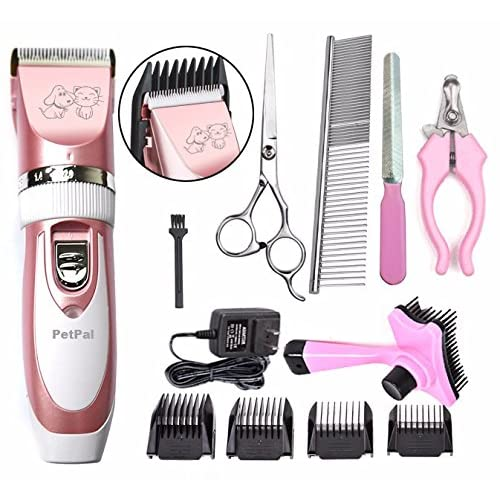PetPal Low Noise Rechargeable Cordless Pet Dogs and Cats Electric Clippers Full Grooming Trimming Kit Set with Oil