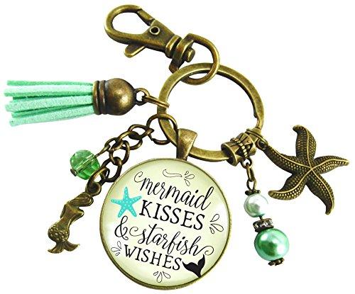 Mermaid Kisses and Starfish Wishes Mermaid Keychain Vintage Beach Style Pendant Ocean Charms Teal Blue (Vintage Pendant Kiss Glass)