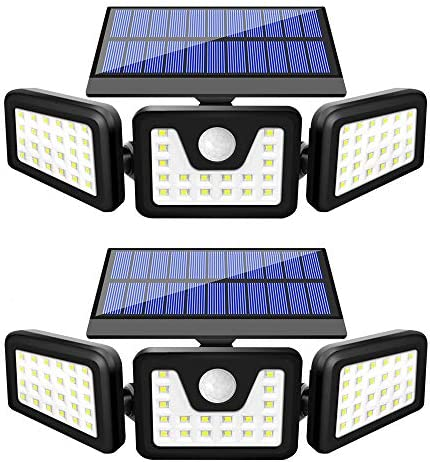 Solar Lights Outdoor, BEACON Solar Motion Sensor Lights Outdoor with 3 Adjustable Heads, Upgraded Flood Light Outdoor, IP65 Waterproof Wireless Wall Lights for Garage, Garden, Yard and Pathway