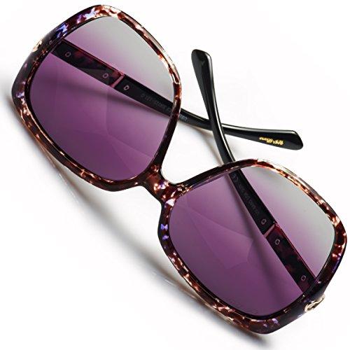 UV-BANS Women Oversized Street Fashion Designer Sunglasses Polarized UV400 Lens Holiday Gifts for Her (C-Purple Tortoiseshell Frame) by UV-BANS (Image #3)