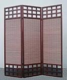 Legacy Decor 3 Panel Solid Wood Screen Room Divider, Dark Brown / Walnut Color