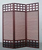 Legacy Decor 3 Panel Solid Wood Screen Room Divider, Dark Brown/Walnut Color
