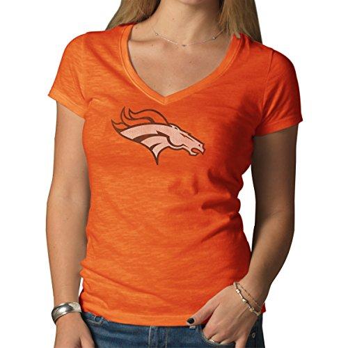 (NFL Denver Broncos Women's '47 Brand V-Neck Scrum Tee, Carrot, Large )