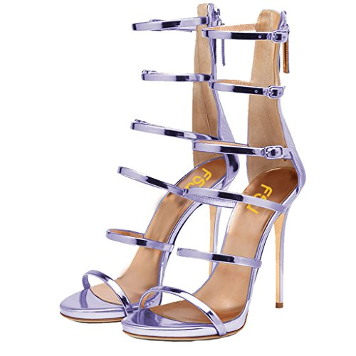 FSJ Women Sexy Strappy Gladiator Wedding Sandals Open Toe High Heel Stiletto Shoes Size 7 Purple