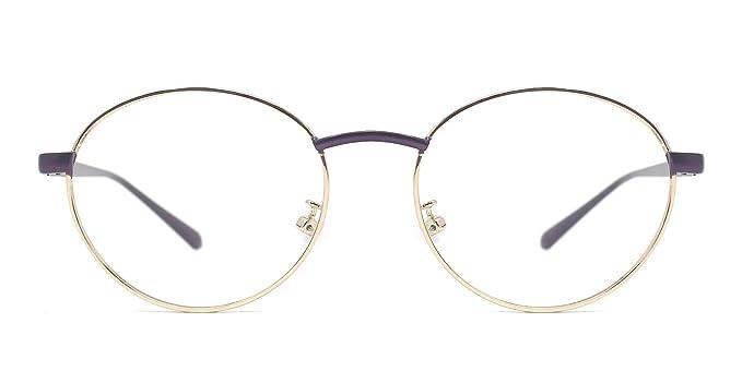 Amazon.com: TIJN Retro Round Thin Metal Frame Eyeglasses Eye Glasses ...