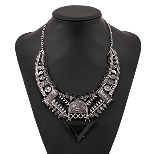 (MJartoria Vintage Bohemian Ethnic Gypsy Rhinestone Bib Chunky Tassel Collar Festival Statement Necklace (Style 7))