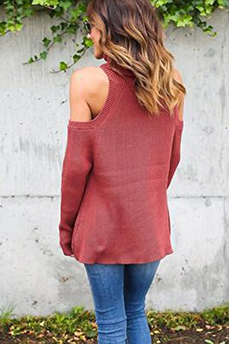 Las Mujeres Suéter De Manga Larga Casual Otoño Básico Simple Cold Shoulder Knit Sudaderas Red