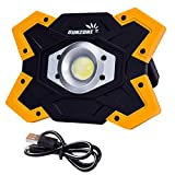SUNZONE LED Work Light 1200 Lumens FloodLight Outdoor Camping Fishing Spotlights Searchlight Built-in Rechargeable Lithium Batteries Lamp With USB Ports (6006 Yellow)