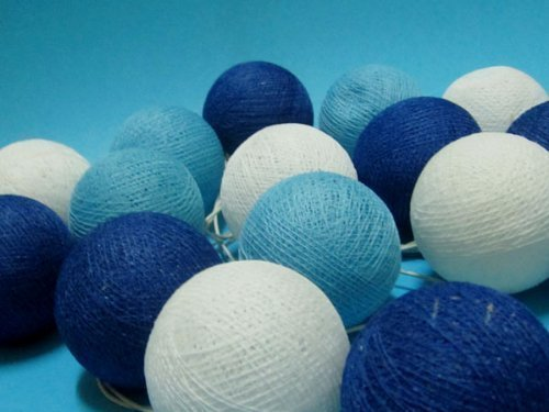 Design by UnseenThailand Handmade Cotton Ball String Lights Decoration (3metre 20 Globes/pack) Decor Wedding Bedroom Garden Spa and Holiday Lighting. (Royal Blue - Blue Sky - White)