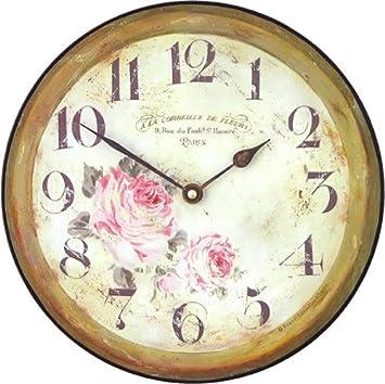 Roger Lascelles Floral Parisian Wall Clock, 10-Inch