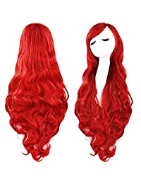 Red Curly Cosplay Wigs 80cm, Marrywindix Halloween Cosplay Long Hair Heat Resistant Spiral Costume Wigs Red 32""