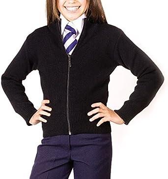 Girls Knitted Stretch Zip Cardigan Girls School Cardigan