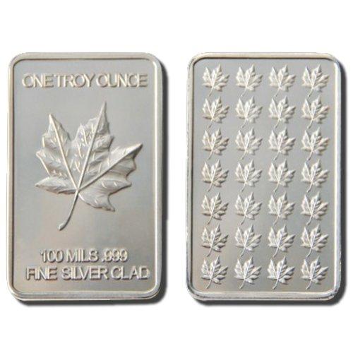 5 (Five) 1 Troy Ounce Canadian Maple Leaf .999 Fine Silver Layered Bar + Bonus Gold Layered Buffalo Nickel!