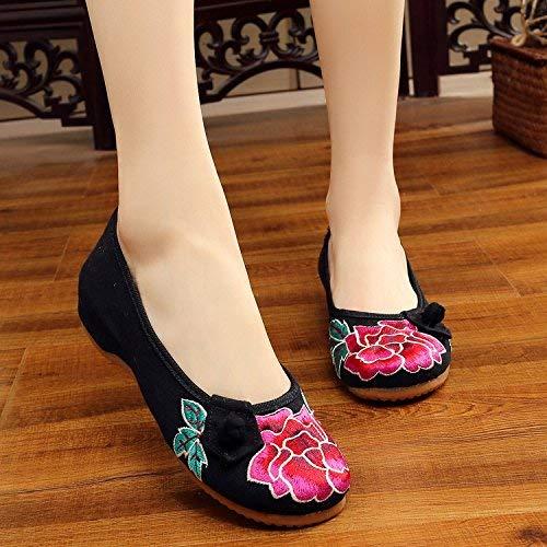 Moontang Bestickte Schuhe Sehnensohle Ethno-Stil weibliche Stoffschuhe lässig Mode bequem lässig Stoffschuhe im Anstieg schwarz 36 (Farbe   - Größe   -) d1a3e0