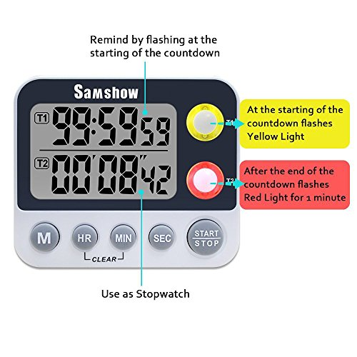 ... Large LED Display Count Up/Down Timer, Alarm Reminding By Flashing,  Magnetic Back, Stand, White, Battery Included, 2 Groups