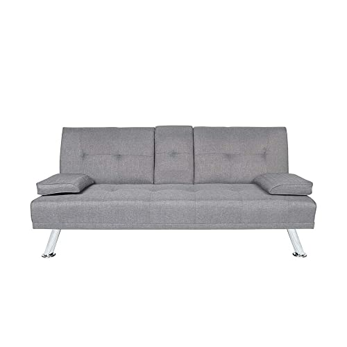 Romatlink Sofa Bed for Small Space, Sofa Sleeper, Modern Style with Arm Rests and Chrome Legs, Quickly Converts Into A Bed – Grey Linen Fabric-Light Grey