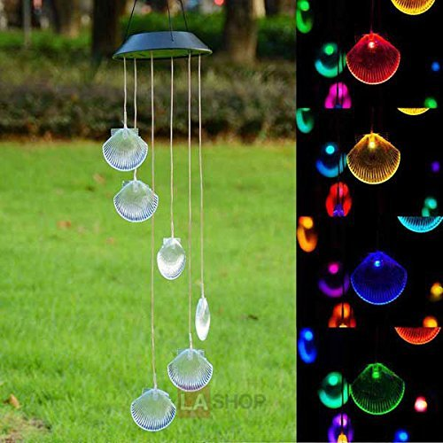 Solar Power Dish - Power Solar 1.2 Volts Battery LED Light Color Changing Shell Wind Chime for Décor Lighting Mobile Home Garden Outdoor Yard Christmas Xmas Holidays Birthday Wedding