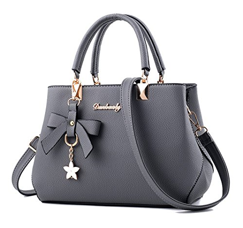 Dreubea Womens Handbag Tote Shoulder Purse Leather Crossbody Bag Grey