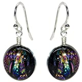 Jupiter Earrings - Nickel Smart - Rainbow Purple Dichroic Glass Nickel Free Dangle Earrings