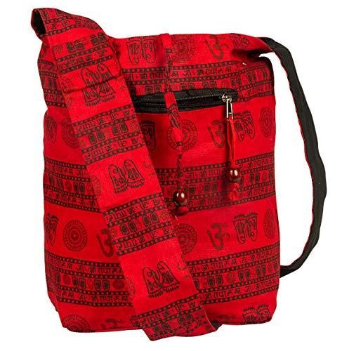 (Tribe Azure Hobo Bag OM Symbol Cotton Canvas Large Messenger Handbag Shoulder Comfortable Roomy Fashion)