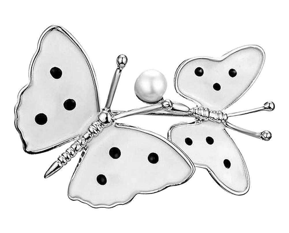 G/én/érique Broche Mariposas Plateado y Blanco a Lunares con Perla nacarado.