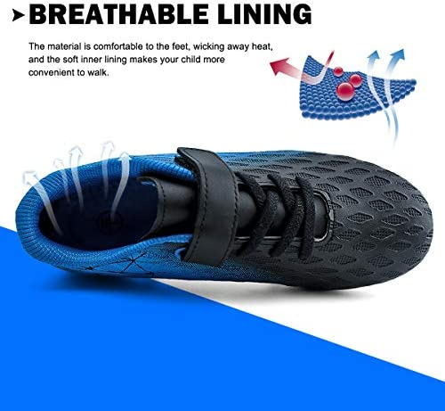 brooman Kids Firm Ground Soccer Cleats Boys Girls Athletic Outdoor Football Shoes