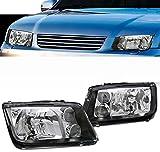 jetta mk4 headlight assembly - VXMOTOR 1999-2005 Volkswagen VW Jetta Bora MK4 MKIV Crystal Euro Black Clear Headlights Headlamps W/ Built In Fog Lamps Signal+Fog Lamps DY