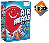 Airheads Bars, Chewy Fruit Candy, Easter Basket Stuffers, Variety Pack, Party, Non Melting, 90Count (Packaging May Vary), 5 Pack