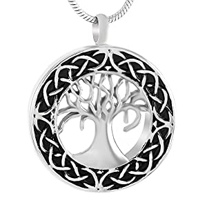 Celtic Tree of Life Urn Necklace - Cremation Jewelry Memorial Keepsake Pendant - Funnel Kit Included