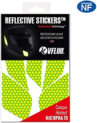 Kit 4 Stickers r/étro r/éfl/échissant Casque Roof Desmo compatibles Tous Casques Moto VFLUO Desmo/™ Noir 3M Technology/™