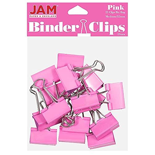 JAM PAPER Colorful Binder Clips - Medium - 1 32mm Clips, Pink