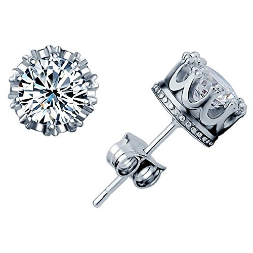 Diamond Stud Earrings New Fashion 925 Sterling Silver Crown Shaped Austrian Crystal Stud Earrings for Both Men and Women Gift (Mens Fashion Silver)