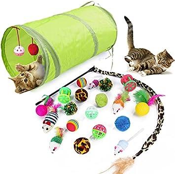 WeFine Cat Toys - Juego de Juguetes interactivos para Gatos de Interior, 21 Piezas