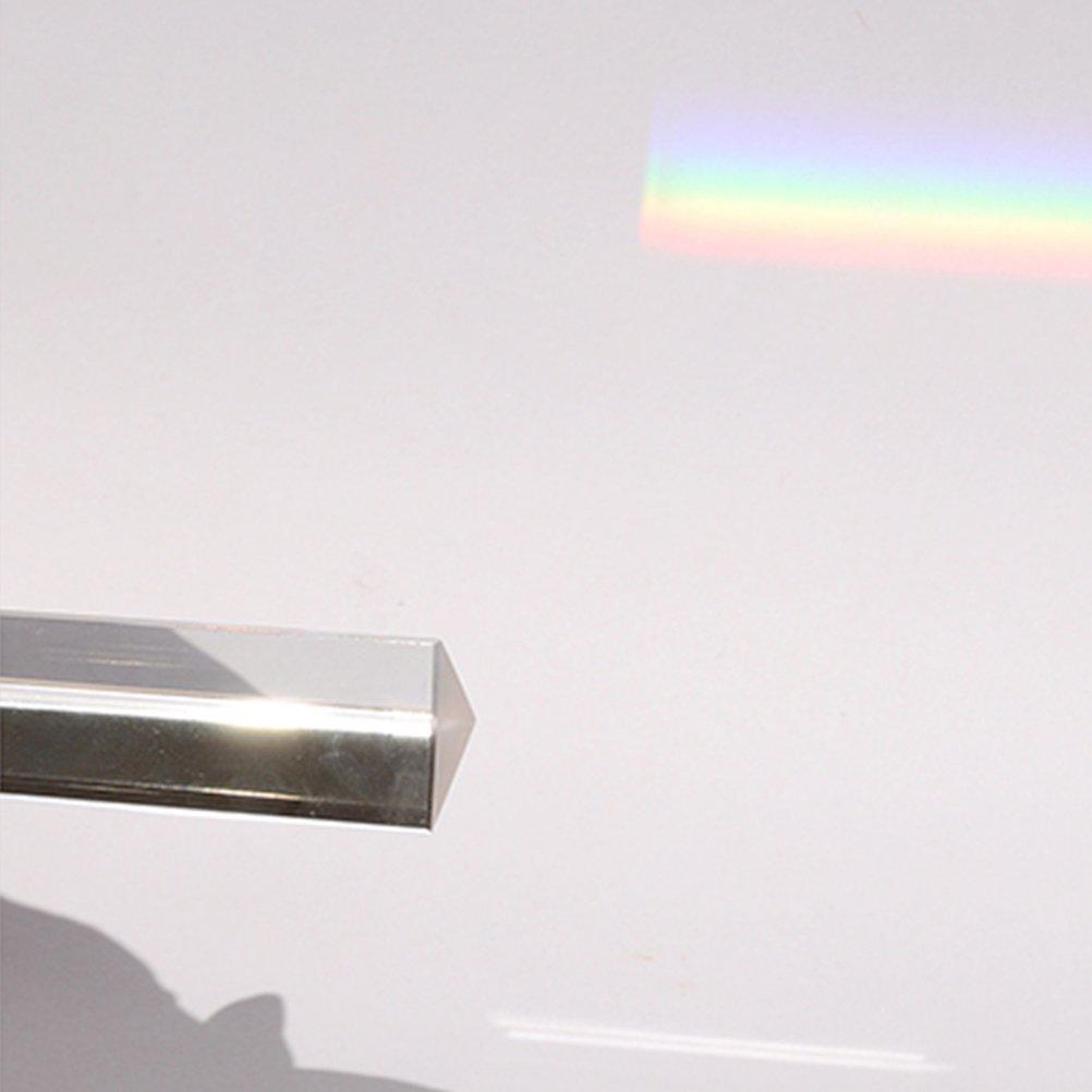 UEETEK Optical Glass Triangular Triple Prism for Photography Teaching Light Spectrum Physics,3 x 3 x 3 x 6 CM