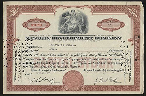 Mission Development Co stock certificate One share 1953 J Paul Getty