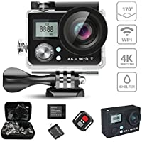DareTang Action Camera 4K WIFI Sports Action Camera Ultra HD Waterproof 16MP DV Camcorder 170° Wide Angle,2 LCD Dual Screen, SONY Sensor and Accessories