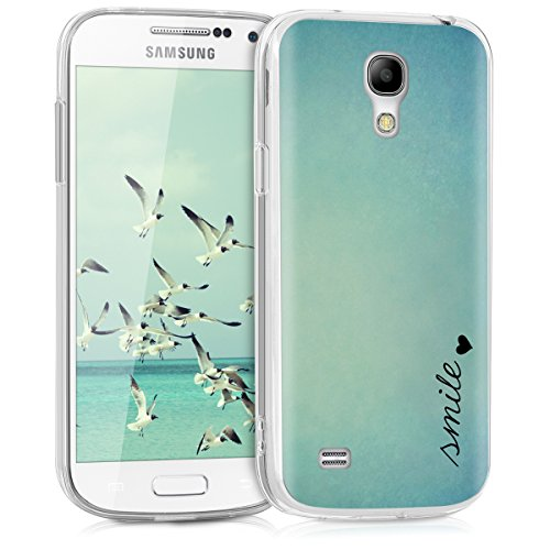 kwmobile Case for Samsung Galaxy S4 Mini - TPU Silicone Crystal Clear Back Case Protective Cover IMD Design - Smile Heart Blue/Turquoise