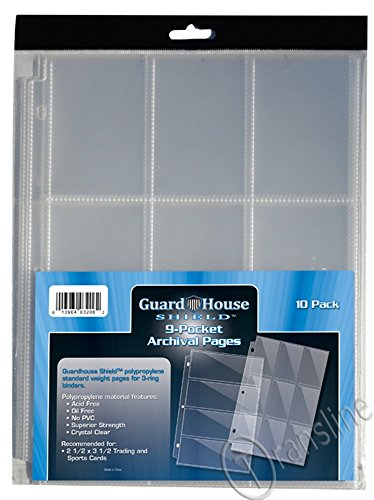 - 9 Pocket Trading / Sports / Baseball Card Pages PACK of 10 GuardHouse Shield