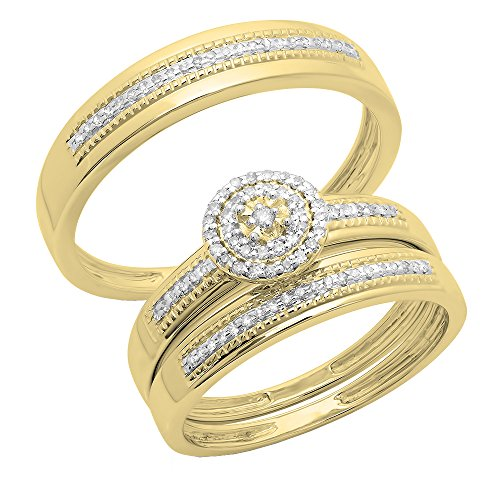 Dazzlingrock Collection 0.27 Carat (ctw) 10K Round Cut Diamond Men & Women's Engagement Ring Trio Set 1/4 CT, Yellow Gold