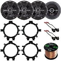 Car Speaker Bundle Combo: 2 Pairs of Kicker 43DSC6504 6.5 Inch 480 Watts 2-Way D-Series Black Car Stereo Coaxial Speaker W/ Adapter Brackets + Wiring Harness + Enrock 50 Foot 16 Gauge Speaker Wire