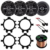 Car Speaker Bundle Combo: 2 Pairs of Kicker 43DSC6504 6.5'' Inch 480 Watts 2-Way D-Series Black Car Stereo Coaxial Speaker W/ Adapter Brackets + Wiring Harness + Enrock 50 Foot 16 Gauge Speaker Wire