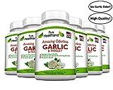 Amazing ODORLESS Garlic and Parsley Supplement Softgels for Men and Women. Equal to 500mg Fresh Garlic Bulbs. Best Garlic Pills. Allium Sativum. Made in USA