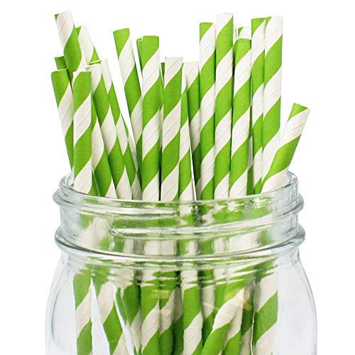 (Just Artifacts Decorative Striped Paper Straws (100pcs, Striped, Green)
