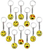 Big Mo's Toys  Emoji Smile Face Double Sided Translucent Party Favor Keychains, Fun Gift Party Giveaway / Handout Emoticon Keychain, 12 Piece